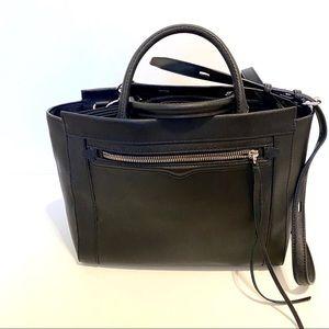 REBECCA MINKOFF Black Leather Satchel Crossbody